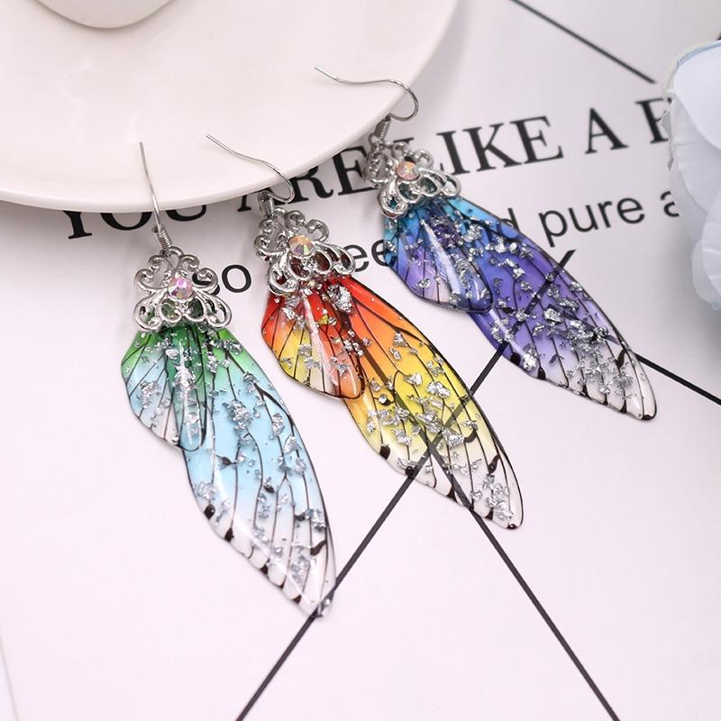 Handmade Fairy Simulation Wing Earrings Insect Butterfly Wing Drop Earrings Foil Rhinestone Earrings Romantic Bridal Jewelry 2