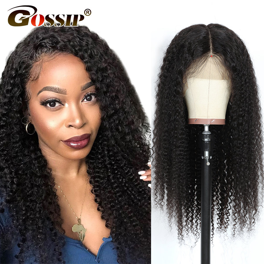 Kinky Curly Lace Front Wigs For Women Brazilian 150% Density 4X4 Lace Closure Wig Gossip Remy 5x5 Lace Frontal Human Hair Wig