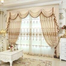 יוקרה וילונות לסלון מודרני חלון וילון אלאנס חדר שינה פרח מלך אקארד אירופאי רקמת וילון בד