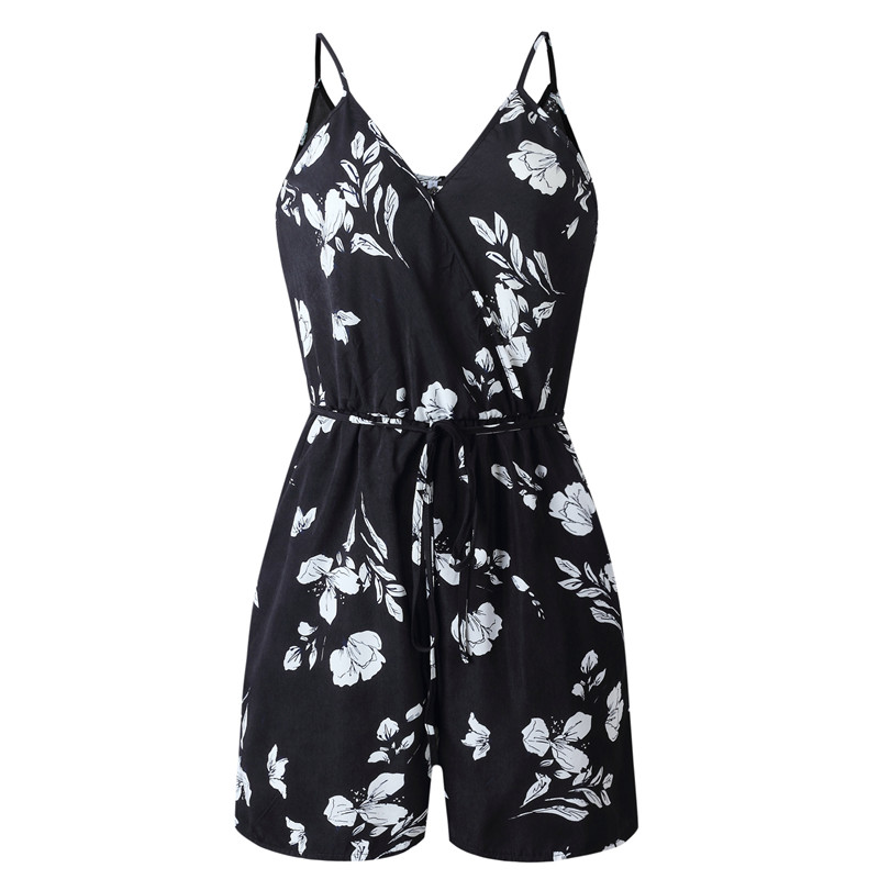 Sexy Women Sling Pocket Lace Up Playsuits Print V Neck Romper Overalls Backless Loose Summer Playsuits Combinaison Short Femme in Rompers from Women 39 s Clothing