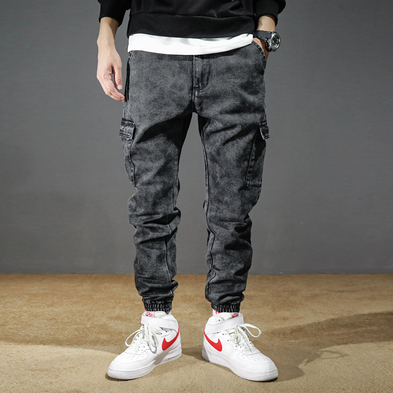 Fashion Streetwear Men Jeans Black Gray Loose Fit Big Pocket Cargo Pants Slack Bottom Hip Hop Jeans Men Joggers Pants Hombre