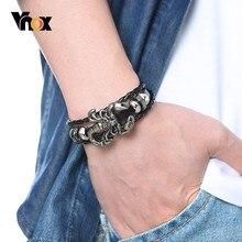 Vnox Vintage Skorpion Charme Armbänder für Männer Layered Leder Armreif Herren Männlichen Casual Schmuck