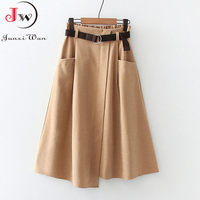Women Casual Skirts 2021 Spring And Autumn Solid High Waist Irregular Pockets Midi Skirts Fashion Simple Elegant Saia Faldas 1