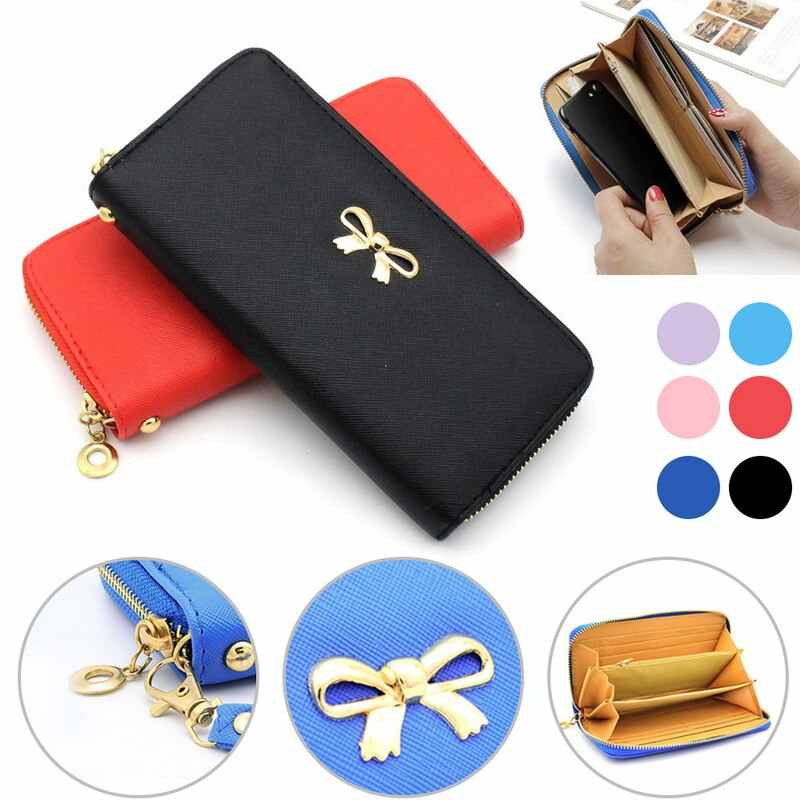 MoneRffi Women's Leather Wallet 2020 New Style Young Fashion Women's PU Carteira Bowknot Long Clutch Purse Monederos Para Mujer