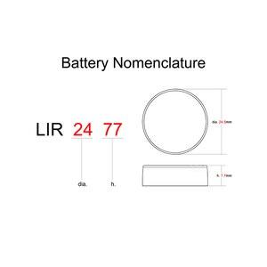 Image 2 - Литий ионный перезаряжаемый аккумулятор LIR2477 3,6 В 1 шт., Литиевые кнопочные встроенные аккумуляторы для монет, часовые элементы LIR 2477 заменяет CR2477
