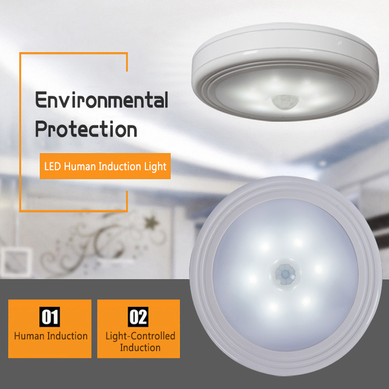 6 LED Wireless PIR Automatic Motion Sensor Infrared Intelligent Human Body Induction Night Light Cabinet Staircase Light