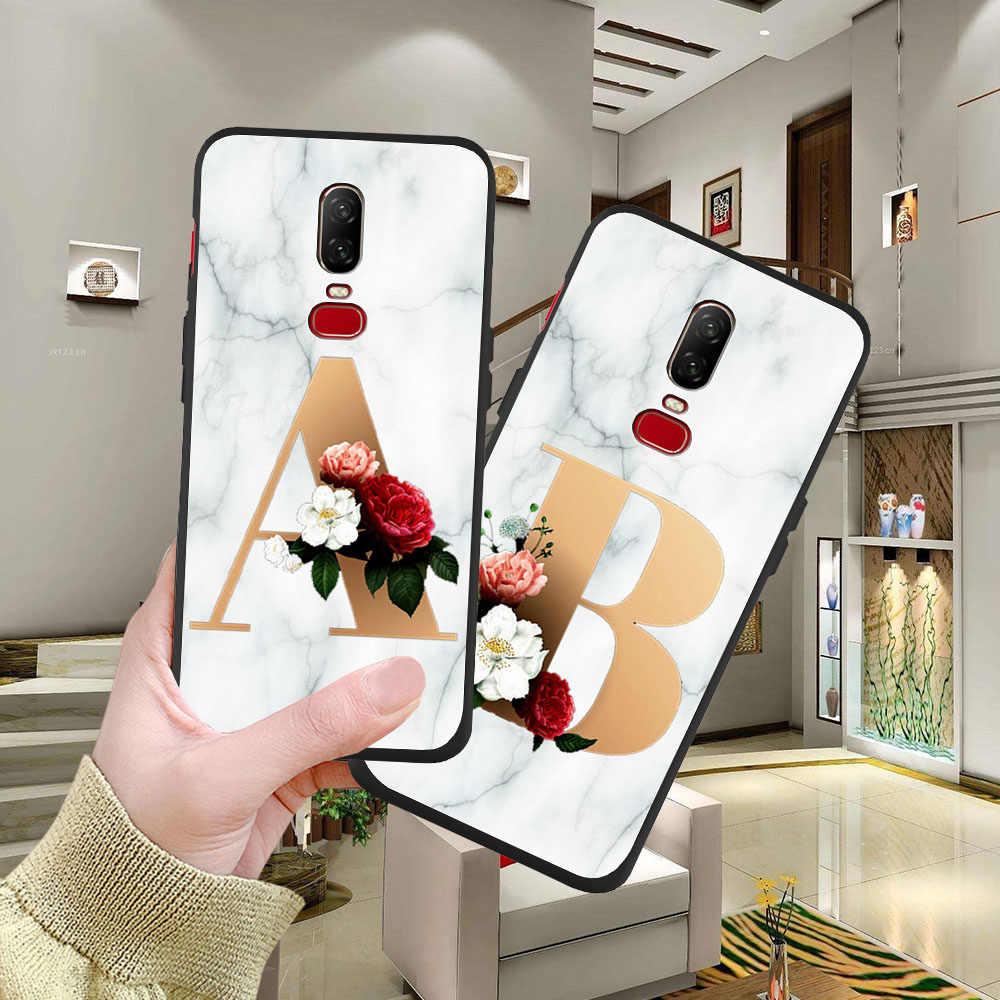 Funda de teléfono de mármol con letras personalizadas de lujo para iphone 6 6s para One Plus 5 5T 6 6T 7T 7T Pro, funda trasera de silicona suave de TPU
