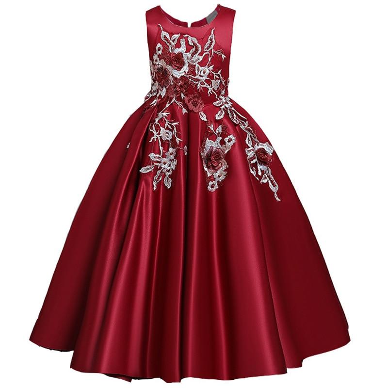 Пышные платья для девочек; платье для первого причастия; детское платье для свадебной вечеринки; платье для дня рождения; кружевные вечерние платья с лепестками для девочек; длинное платье для торжеств - Цвет: wine red