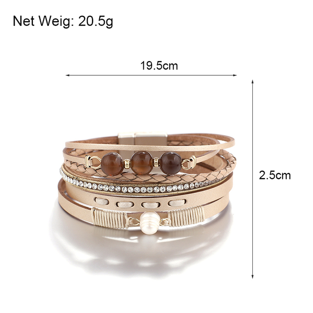Leather Wrap Bracelet With Charms size dimensions for store information