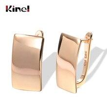 Kinel-pendientes colgantes brillantes para mujer, de moda novedosa, aretes cuadrados simples de oro rosa 585, joyería fina diaria de alta calidad