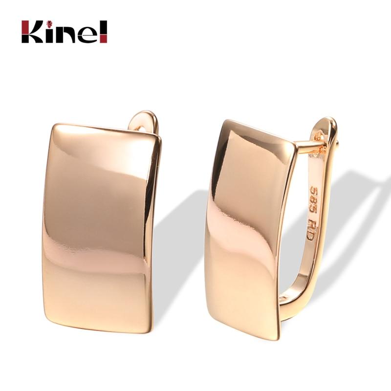 Orecchini pendenti lucidi Kinel Hot Fashion 585 orecchini quadrati semplici in oro rosa per donna gioielli raffinati quotidiani di alta qualità