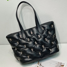 Large Capacity Space Padded Women Shoulder Bag Fashion Rivet Cotton Big Tote Bags for Women Winter Space Down Handbag and Purse
