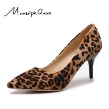 Leopard Plush New Shoes Woman Sexy Animal Print High Heels 6-8CM Elegant Office Pumps Big Size 34-44 Luxury Single