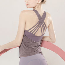 Tanpa Lengan Rompi Olahraga Olahraga Yoga Crop Top Wanita Cross Back Backless Kemeja Latihan Top Gym Tank Top Backless Kebugaran(China)
