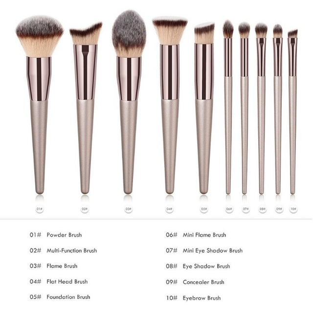 10 Size Luxury Makeup Brushes Wooden Foundation Cosmetic Eyebrow Eyeshadow Brush Sets Cosmetics Tools brochas maquillaje 1
