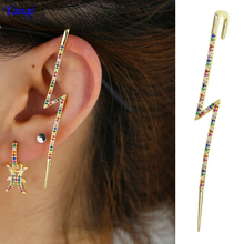 Long colorful rainbow cuff earring No Pierced Non-piercing Earcuff Ear Clip girls 1pc Flash cz lightning with Clip-on Earring