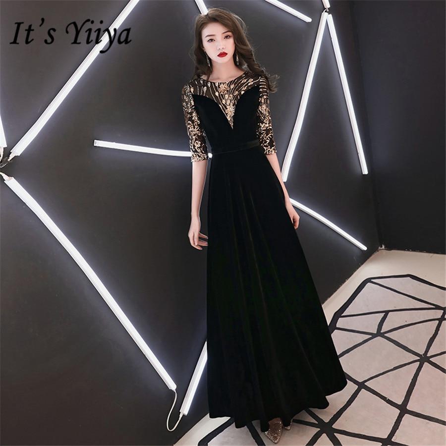 It's Yiiya Evening Dress Gold Sequins O-neck Half Sleeve Formal Dresses Black For Women E1360 Plus Size Long Robe De Soiree