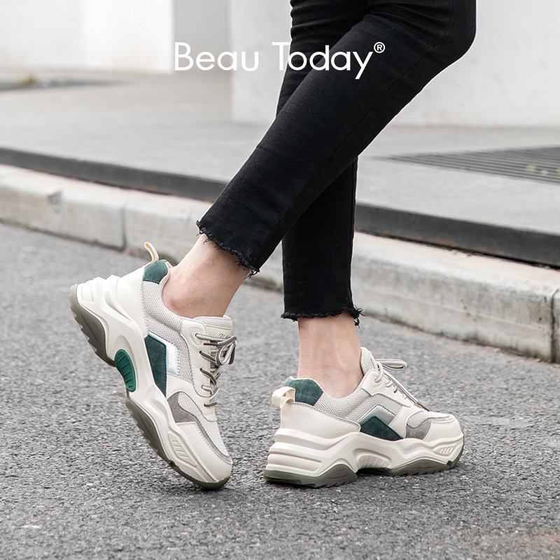 BeauToday Chunky Sneakers Women Genuine Cow Leather Round Toe Lace-Up Spring Autumn Lady Casual Platform Shoes Handmade 29343