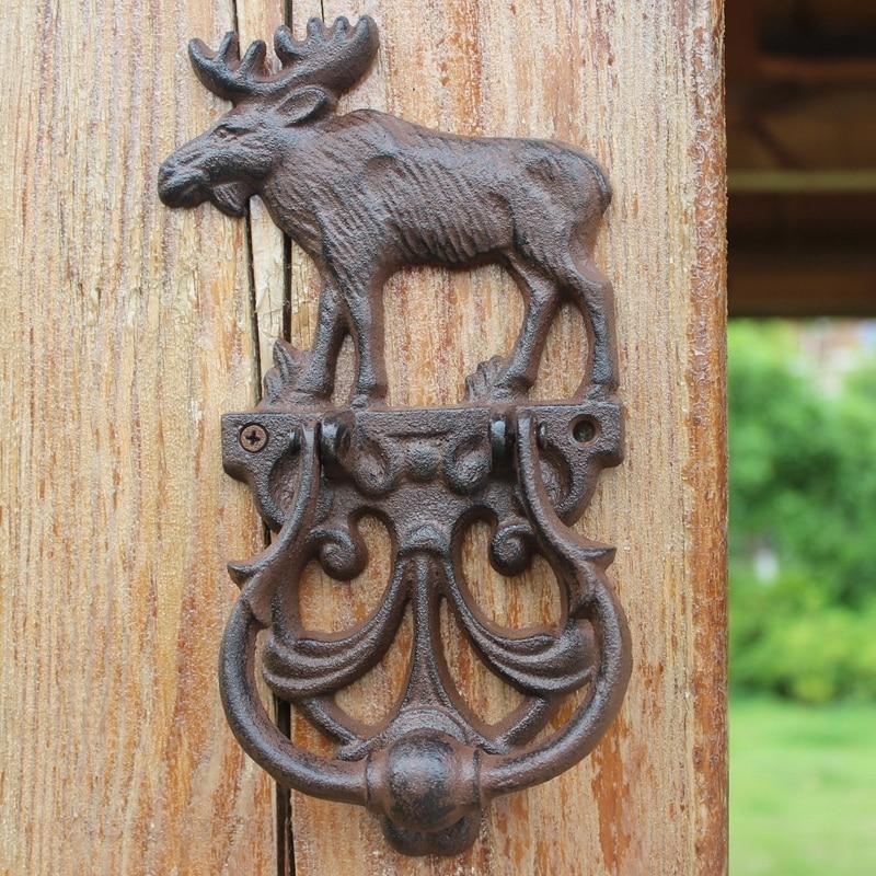 JD European Style Vintage Cast Iron Crafts Elk Knocker Antique Door Handle Garden Home Door Wall Decoration Knock