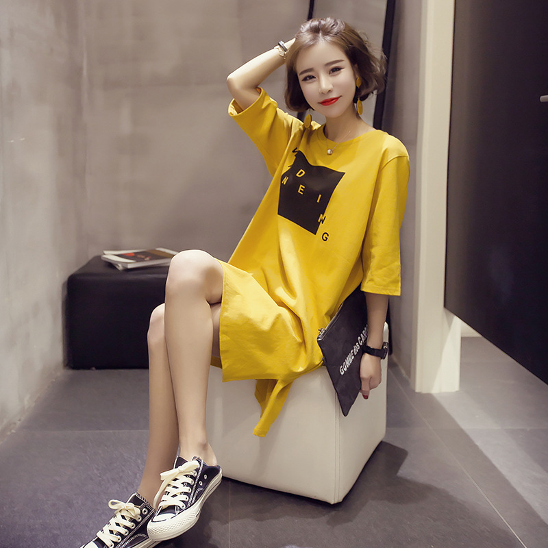 Fashion New Style Summer Pajamas Girls' Clothing Korean-style Women's Students Mid-length Short Sleeve Nightgown Cotton Tracksui