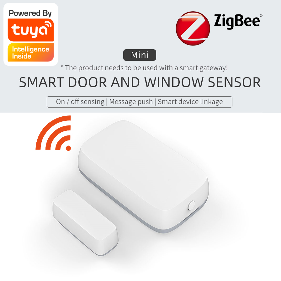 Tuya ZigBee Mini Door Window Sensor Smart Home Kits Alarm System Work with Tuya Gateway Smart Life APP  home system control