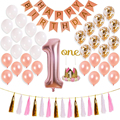 birthday balloon rose gold, baby girl first birthday party decoration party kit, happy birthday banner, graduation baby baptism