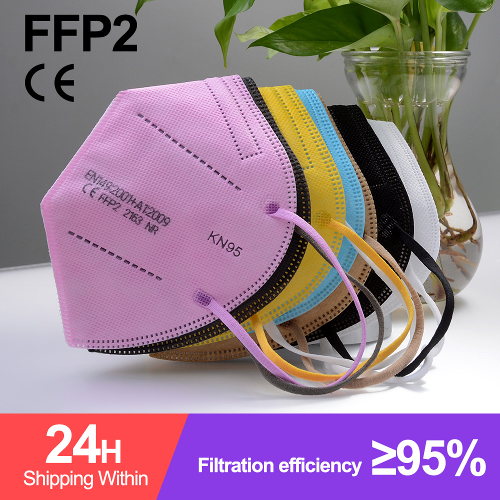 50PCS FFP2 Face Mask KN95 Dustproof Protective Colored Mask Mouth Mask PM2.5 Respirator 5 Layer Filt