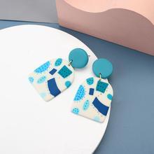 AENSOA Trendt Blue Green Color Geometry Graffiti Clay Big Long Drop Earrings for Women 2020 Fashion Polymer Clay Unique Eaarings
