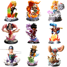 9 Styles Anime One Piece GK PT Luffy Sanji Nami Zoro Chopper Usopp Robin PVC Action Figure Collectible Model Christmas Gift Toy