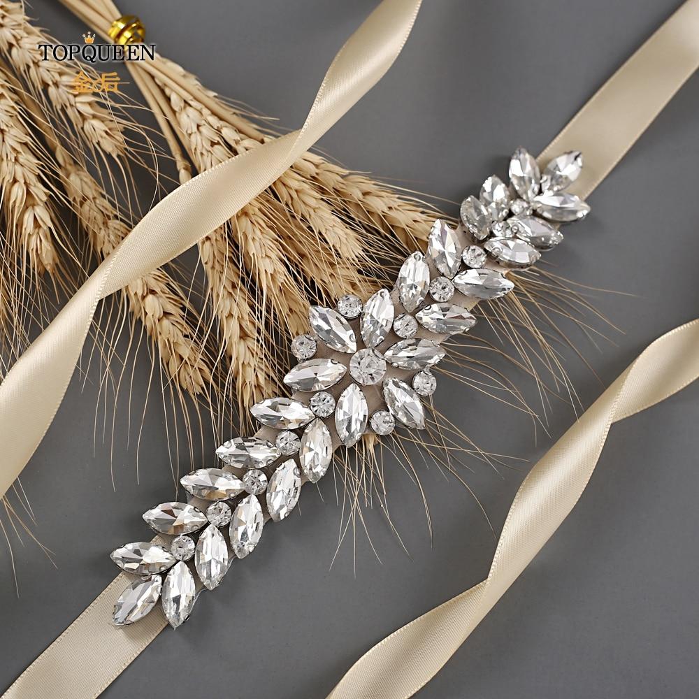 TOPQUEEN Silver Bridal Waist Sash Rhinestone Skinny Belt For Formal Dress Wedding Sparkly Belts For Women Ribbon Waistband  S69