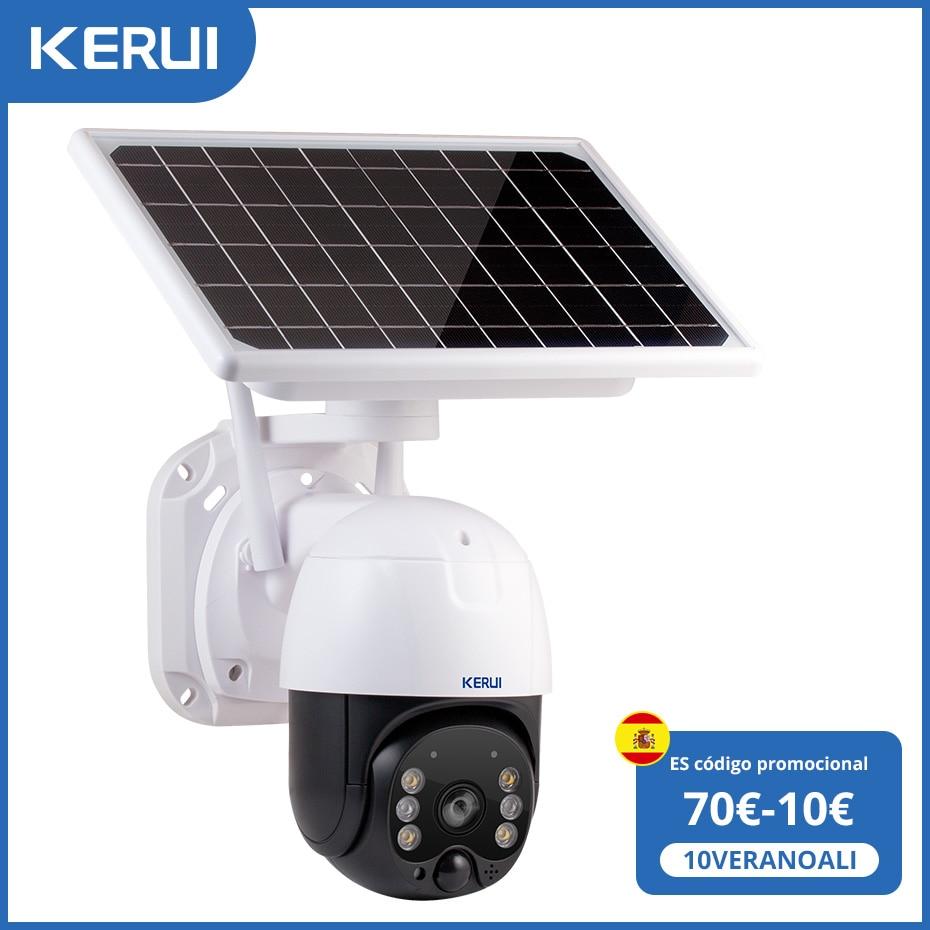 KERUI Outdoor Waterproof Wireless 3MP WiFi IP Camera 8W Solar Panel PTZ Battery Camera Home Security CCTV Video Surveillance