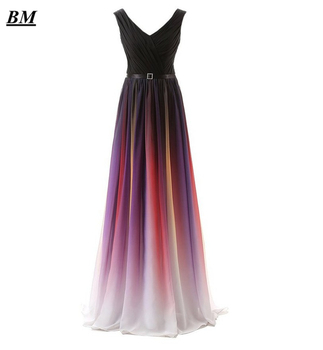 2019 Sexy V-Neck Gradient Chiffon Prom Dresses Beaded Sequined Long Ombre Formal Evening Dress Party Gown Vestidos De Gala BM06