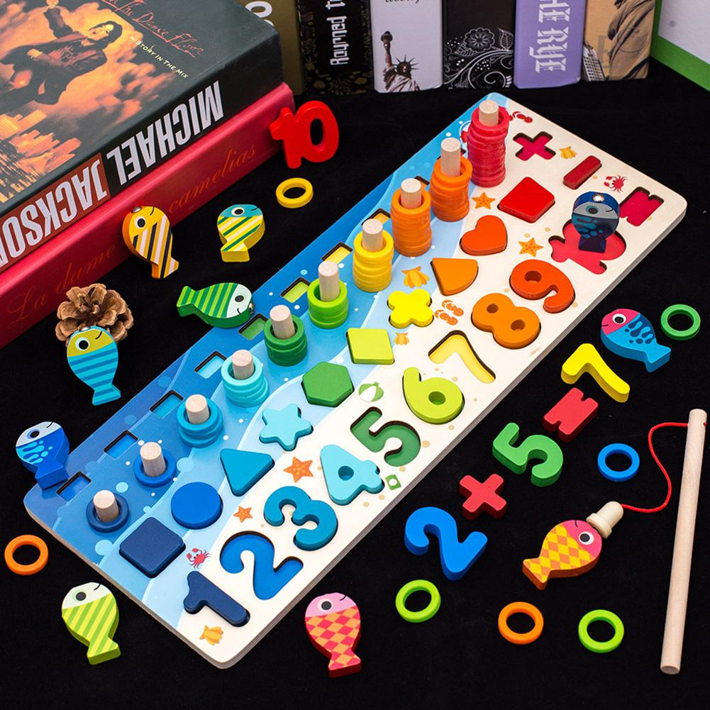 Montessori Materials Kids Toy 4 In 1 Wooden Number Puzzles Stacking Sorter Magnetic Fishing Game Education Toys For Children