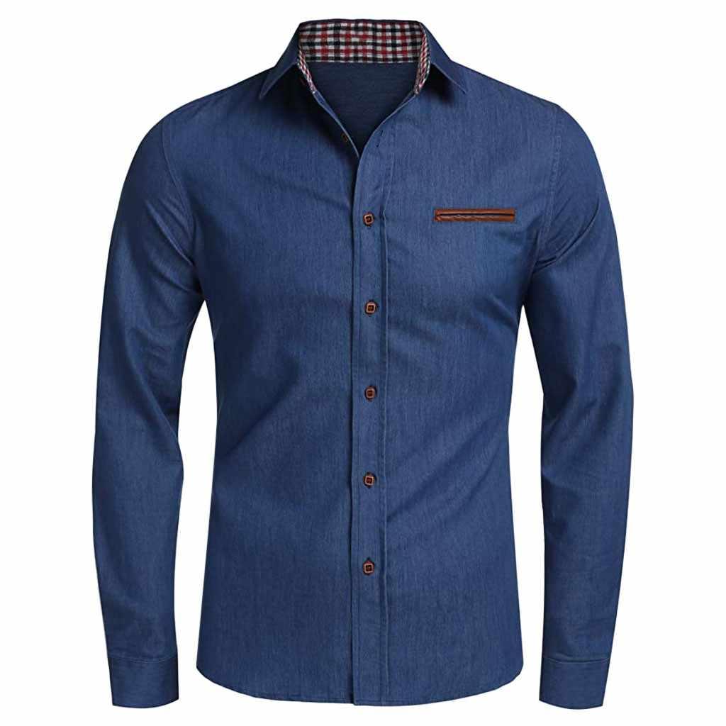 Camisa de mezclilla para hombre, 2020, primavera, otoño