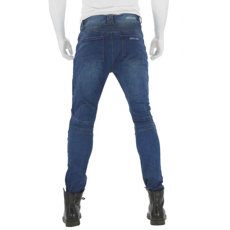 Unisex Dei Jeans Da Moto Denim Biker Blu Pantaloni Pantaloni Da Combattimento Pastiglie di Protezione