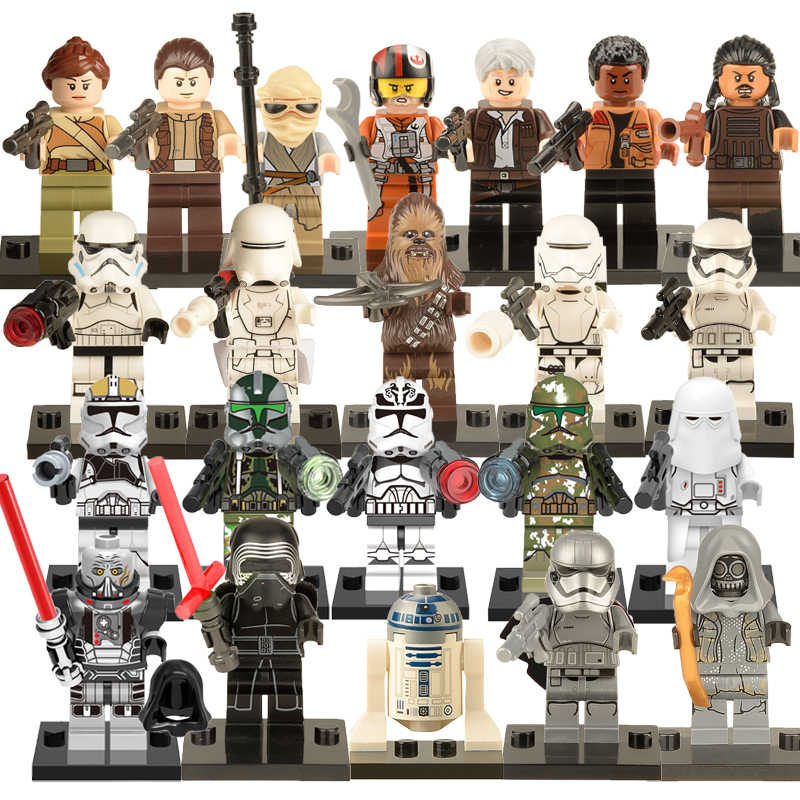 22pcs/lot Action Figures Legoings Star Wars Stormtroper Han Solo Wolf Pack Clone Trooper DIY Building Block Toys For Children