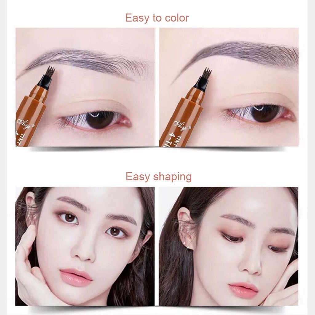 1Pc ธรรมชาติสี่ส้อมเคล็ดลับคิ้วปากกาสีน้ำตาลเข้มสีเทากันน้ำเหงื่อ Eyebrow Enhancer ดินสอ Professional Makeup # b