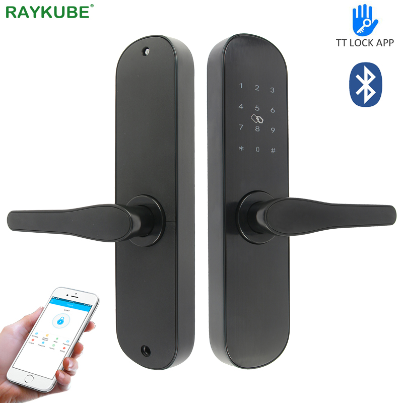 RAYKUBE Electronic Door Lock 13.56Mhz M1 Card Password Bluetooth TT Lock APP Unlock For Hotel / Home /  Office R-FG3BT