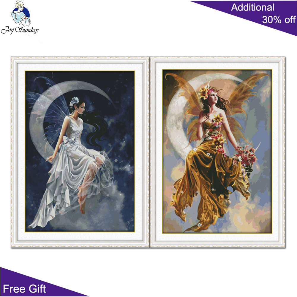 Your Gift R866(1)R867(2) 14CT 11CT Counted And Stamped Home Decor The Moon Fairy Needlepoint Embroidery DIY Cross Stitch Kits