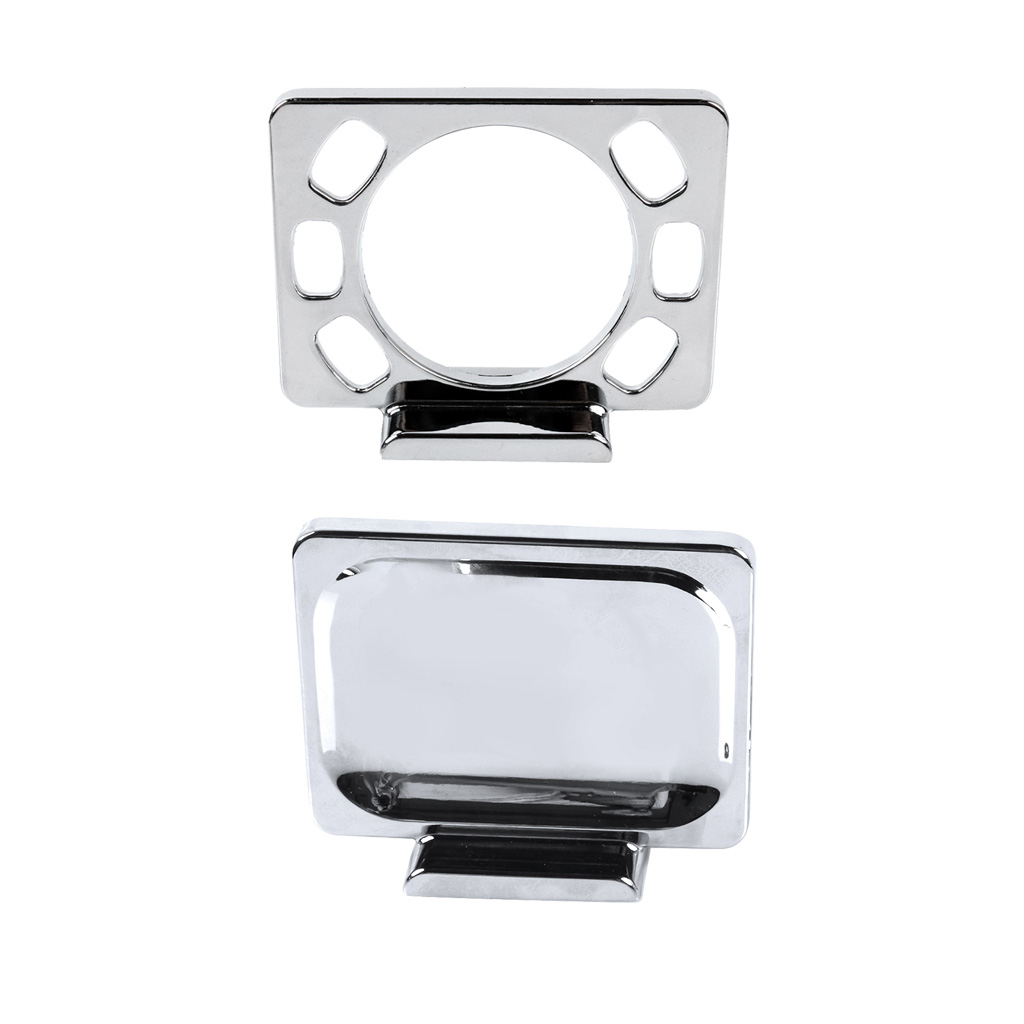Bathroom Accessory Set Toothbrush Holder and Soap Dish - Wall Mounted -- Chrome Plated Finish, All Metal Construction image