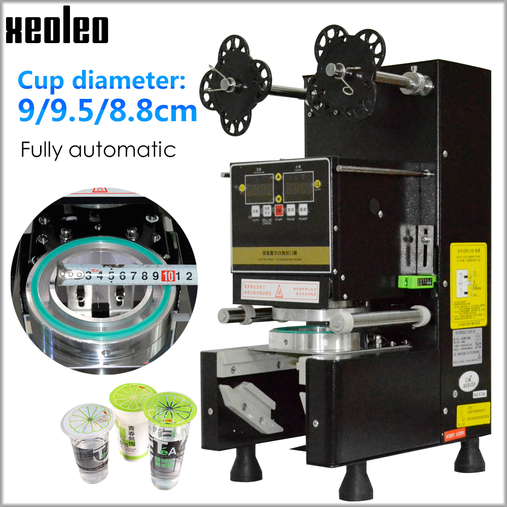 Máquina automática completa do chá da bolha da máquina da selagem do copo do aferidor do copo de xeoleo para 9/9. 5/8. 8 pp/pe/selo de papel do copo de chá do leite preto/branco