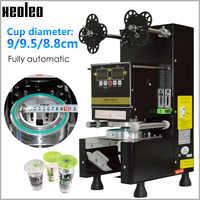 Máquina selladora de tazas Xeoleo máquina selladora de té con burbujas totalmente automática para 9/9. 5/8. 8 PP/PE/papel sello de taza de té con leche negro/blanco