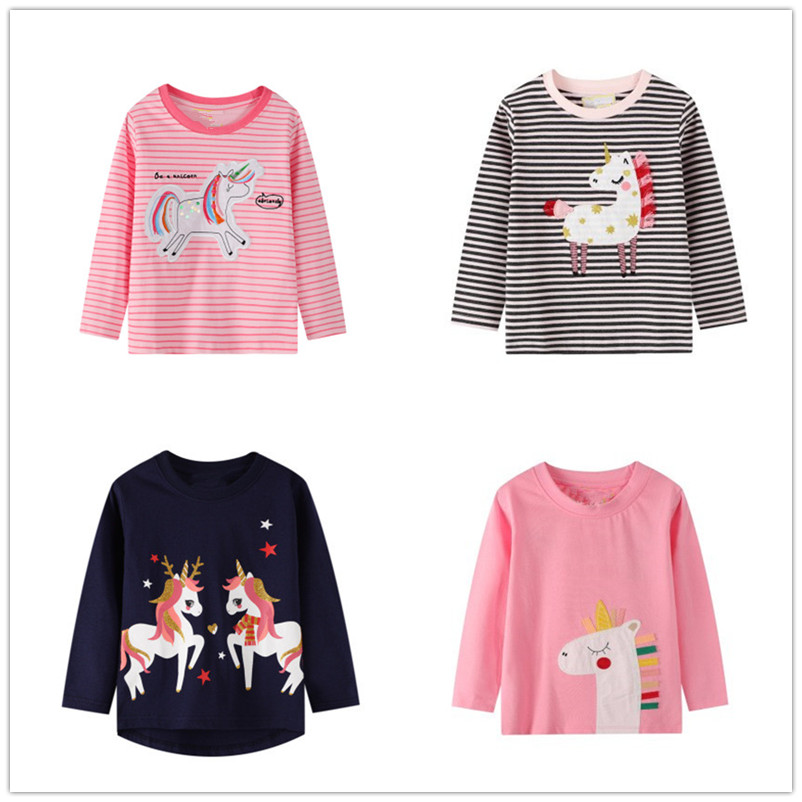 VIDMID baby Girls cotton long sleeve unicorn t-shirts baby kids cartoon casual clothes 2-7 years children t-shirts clothing W01 1