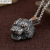 Real 925 Silver Handcrafted Tiger Head Pendant Necklace 925 Sterling Power Tiger Man Pendant Good Luck Pendant Punk Jewelry