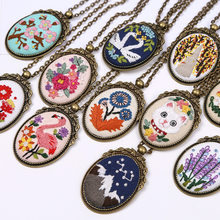 Diy colar bordado kit needlework flor ponto cruz conjuntos com aro artesanal balanço artes artesanato presente criativo inacabado