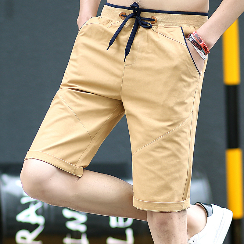 Summer Casual Sports Shorts Young MEN'S Loose Breeches 5 Five 6 Points In Pants Korean-style Trend Slim Fit Beach Shorts