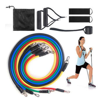 11 pieces/set of latex resistance band fitness band training sports yoga tube pull rope rubber expander resistance band elastic resistance bands 8 shaped fitness elastic rubber loops latex pull rope sports rubber expander band yoga pilates fitness belt
