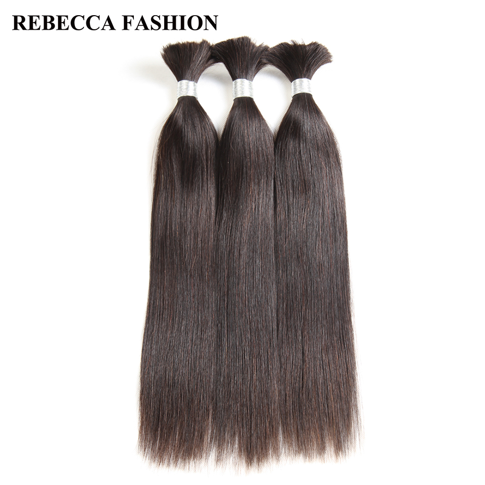 Rebecca Brazilian Remy Straight Bulk Human Hair For Braiding 1/3/4 Bundles 10 To 30 Inch Color Hair Extensions