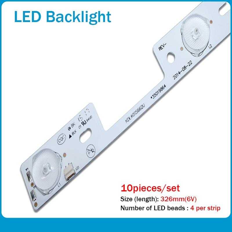 New 10Pieces LED Backlight Bar For KONKA KDL39SS662U 35018339 KDL40SS662U 35019864 General Use 327mm 4 LEDs( 1 LED 6V)