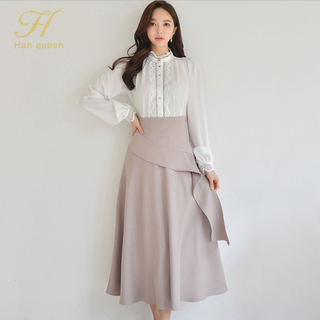 H Han Queen 2 Pieces Women 2021 Spring Sexy OL Long Sleeve Lace Office Lady Casual Loose Big Swing Women's Elegant Party Dress 2